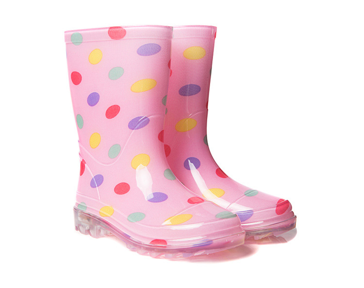 BAILI PB3202 Kids PVC Fashion Light Up Rain Boots-Pink / Blue / Black 12