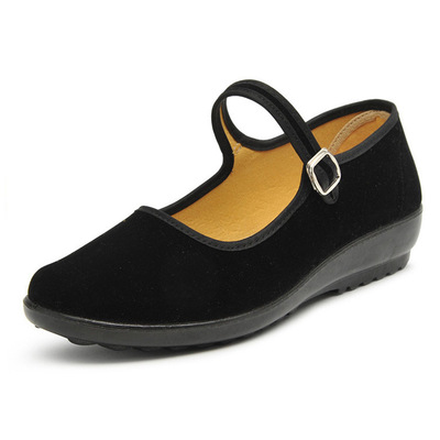 Women shoes work shoes black slope heel soft sole single shoes hotel work shoes Square Dance
