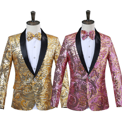 men's jazz dance suit blazers Fancy Sequin suit, green fruit collar coat, nightclub singer studio, photo taking, Western delivery bow tie