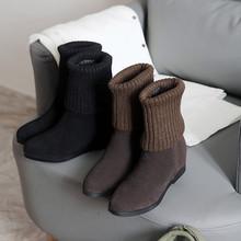 2019秋冬新款磨砂牛皮内增高韩版短靴时尚毛线靴圆头女式短靴