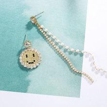 女士韩国长款耳环 韩版时尚夸张气质流行笑脸可爱耳环s925纯银针