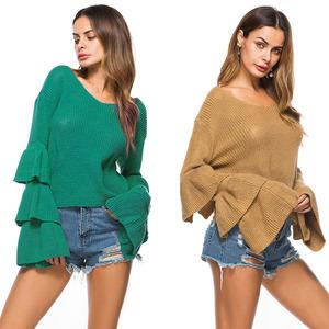 外贸纯色针织毛衣现货ebay速卖通爆款四色入喇叭袖V领套头针织衫