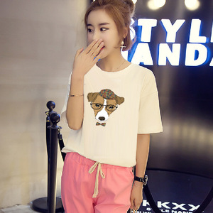 9.9 shipping dress code MM - Korean loose fat all-match short sleeved summer cartoon glasses dog t-shirt