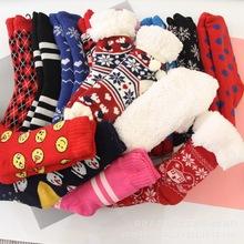 外貿加絨地板襪毛線襪防滑加厚秋冬季保暖家居襪成人襪套早教襪