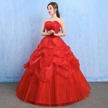 婚纱礼服2021春春新款韩式新娘结婚抹胸大码孕妇齐地红色蕾丝显瘦