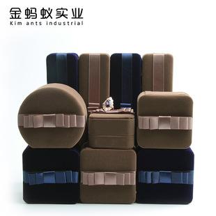 Ribbon Bowknot Flannel Jewelry Box Bracelet Earrings Ring Pendant Gift Box Round Jewelry Box Jewelry Packaging Box