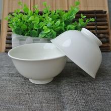 4.5英寸純白 圓形防燙高腳金鐘直口厚邊碗 陶瓷米飯骨瓷碗 可定制