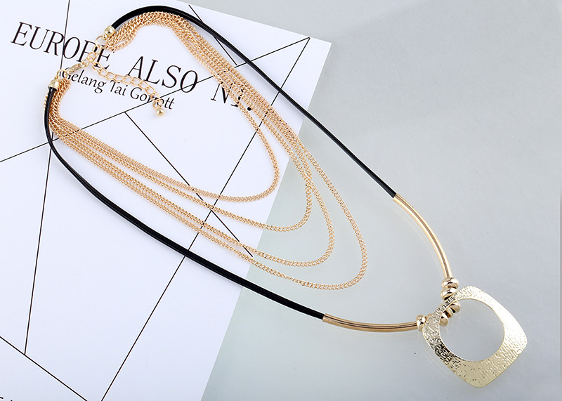 Fashion Alloy plating necklace Geometric (Photo Color)NHKM2508-Photo Color