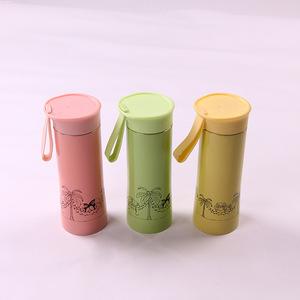 2019新款不锈钢保温杯韩式卡通儿童水杯提手便携水杯定制logo批发