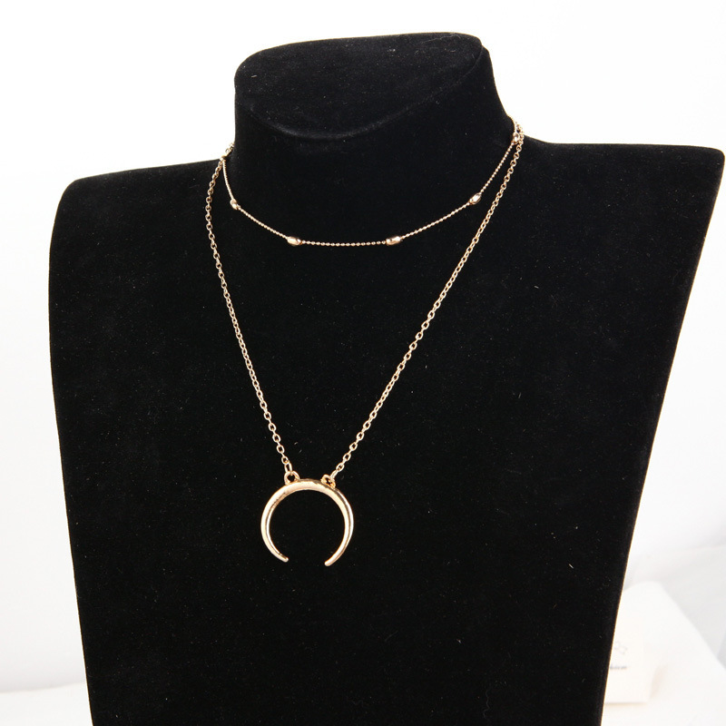 European and American cross border jewelry fashion simple double-layer copper bead necklace Moon Pendant multi-layer neck chain clavicle chain