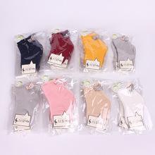 秋冬新款 可脱卸小花发夹款全棉儿童袜子 糖果色宝宝袜子