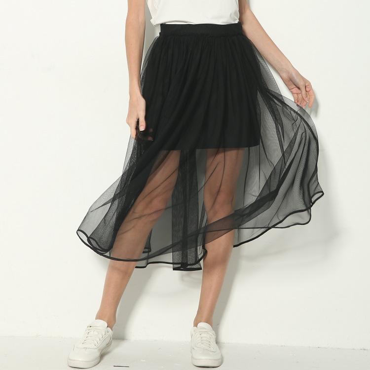 網紗飄逸 自帶風 黑色紗網長裙透視半身裙