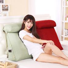 棉麻床头三角靠垫 飘窗榻榻米靠枕靠背垫 软包纯色沙发垫 可拆洗