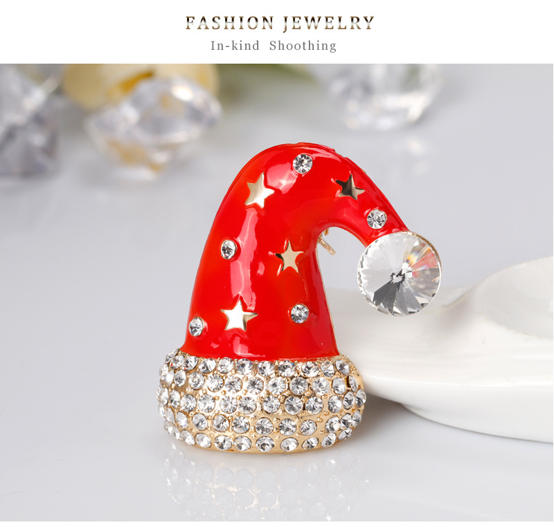 Christmas Necklace Jewelry Fashion Cartoon Cute Christmas Hat Brooch Alloy Drop Oil Corsage NHDR179486