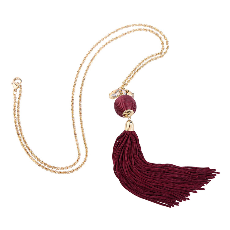 Fashion Alloy Diamond necklace Tassel (black)NHQD4145