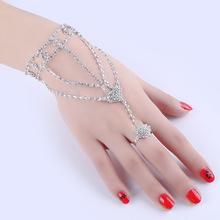 歐美個性時尚飾品首飾優質水鑽蝴蝶結手指手鏈 一體鏈首飾批發