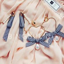韩国韩版时尚甜美格子织带缎带编织珍珠流苏长款耳环超大爱心耳坠