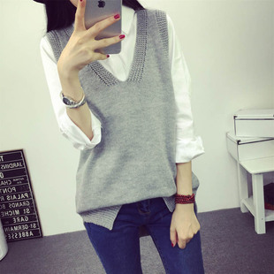 2021 autumn and winter new all-match sweater sweater vest vest women mid-length loose V-neck split jacket trend
