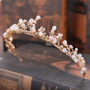 Hairpin hair clip hair accessories for women Mother Pearl handmade crown set gold branch princess crown headdress wedding dress accessories crown hair ornament