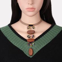 原創亞馬遜爆款手工飾品 原木水晶choker頸鏈項圈 木質韓國絨項鏈