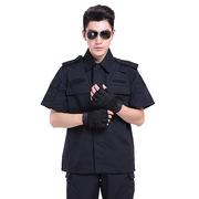 厂家现货批发网格作训服特勤短袖黑色作训服夏季保安服执勤服半袖