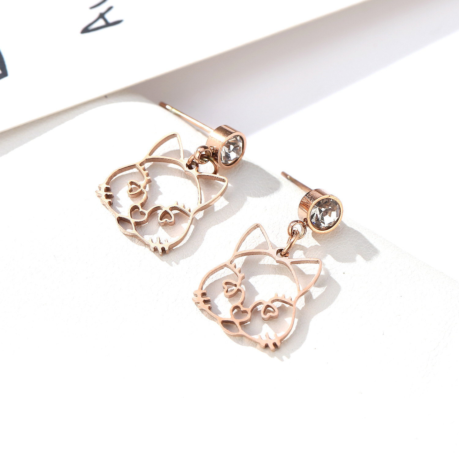 folk-custom metal plating Titanium steel earrings (Rose gold pair)NHIM0975-Rose gold pair