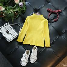 童装 2017ins爆款女童针织打底衫 韩版女童纯色百搭修身针织衫