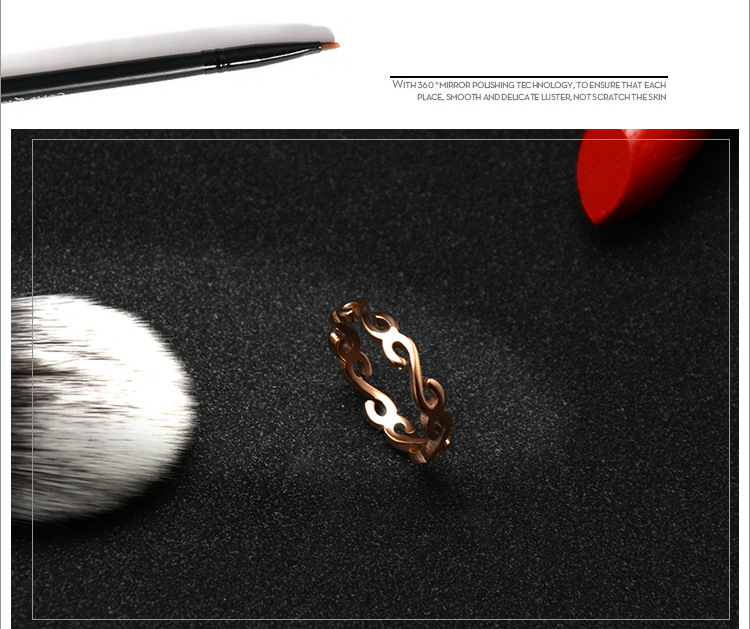 Fashion character connected S-tail titanium steel ring NHOK126048