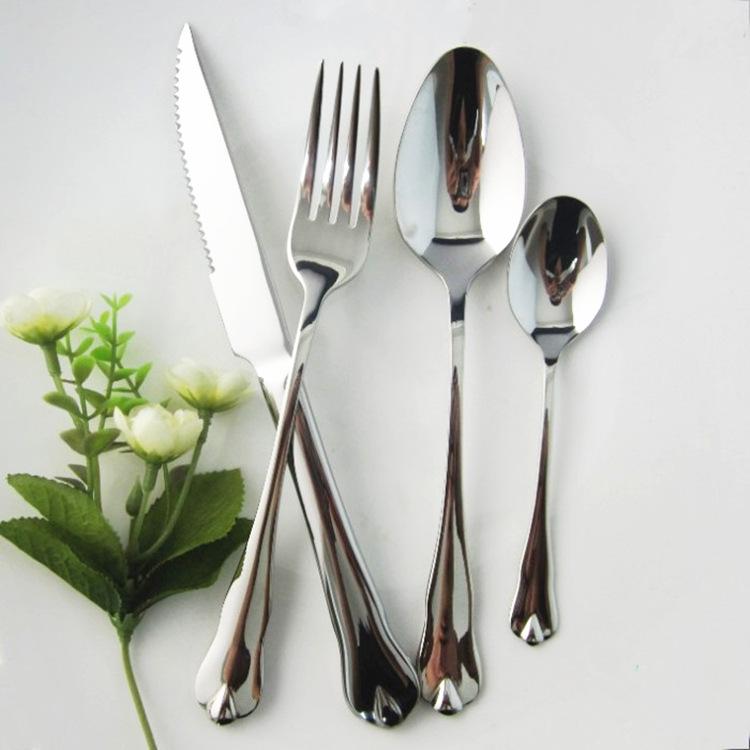 不锈钢西餐餐具西餐刀叉两件套牛排刀叉勺不锈钢勺子(水滴)