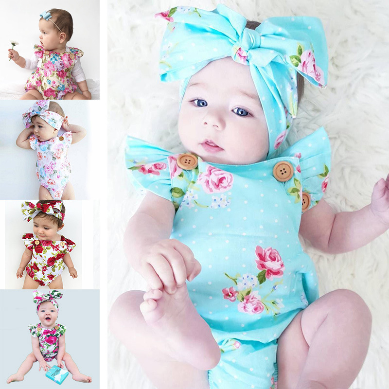 Children's Clothing INS 1-3 year Old Baby One-piece Romper Flower