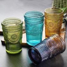 zakka复古浮雕太阳花玻璃杯家用洋酒杯果汁杯刻花加厚饮料杯