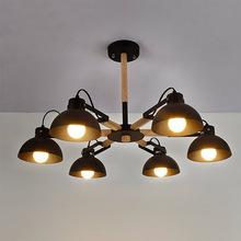 北欧简约实木客厅吸顶灯创意咖啡厅服装店铁艺罩灯餐厅书房木艺吸