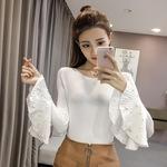2018春季韩版新款纯色喇叭七分袖钉珠百搭修身针织打底衫女装批发