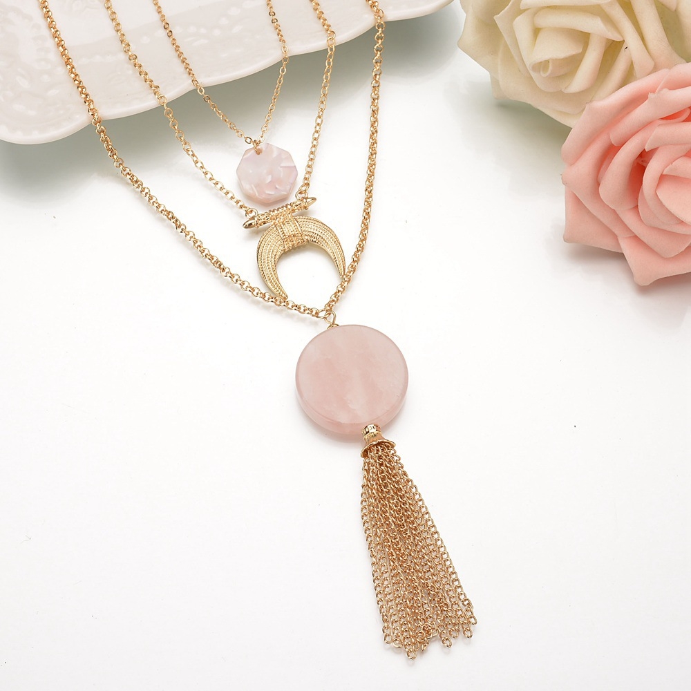 Occident and the United States alloy plating necklace (Pink)NHBQ1021-Pink