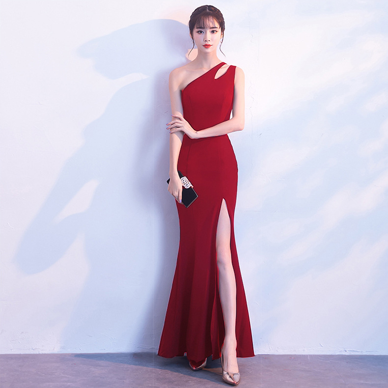 055bb41c85c Party evening dress single shoulder fork long dress winter slim fashion  fish tail dress female host Dress