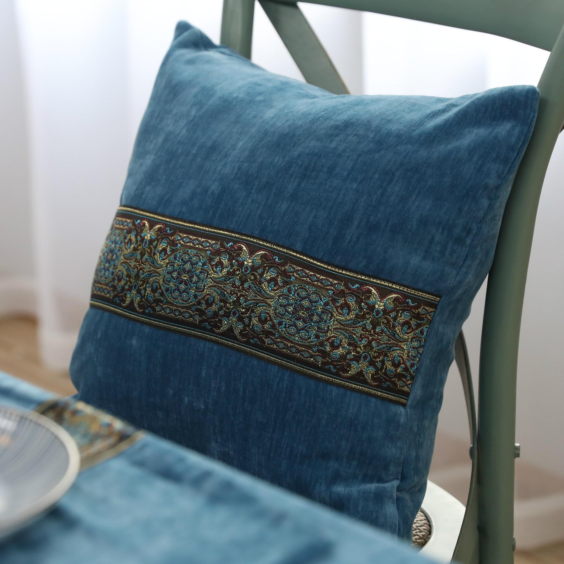 绣花绒面抱枕靠垫纯色抱枕沙发靠枕床头靠背枕抱枕套蓝色不含芯