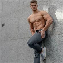 跨境肌肉男ECHT 运动休闲跑步兄弟修身小脚长裤棉质隐形拉链下装