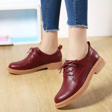 秋季新款牛津鞋 圆头系带防水台低帮单鞋 复古英伦风学院女式皮鞋