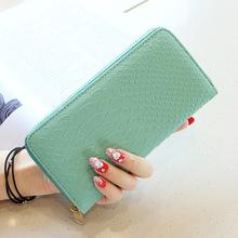 2018新款女士钱包韩版简约时尚鳄鱼纹长款拉链手拿包钱包女