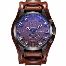CURREN三眼宽皮带真皮石英男士商务休闲手表时尚潮流运动手表