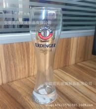 高档细腰高款玻璃啤酒杯 真金贴花果汁杯 广告促销玻璃杯380ml