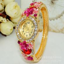 景泰蓝镂空水钻手镯手表饰品手表 热卖新品花朵镯子手表一件代发