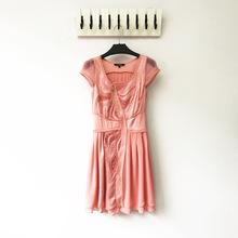 19新款出口欧美原单重工刺绣不规则拉链镂空双层雪纺减龄连衣裙