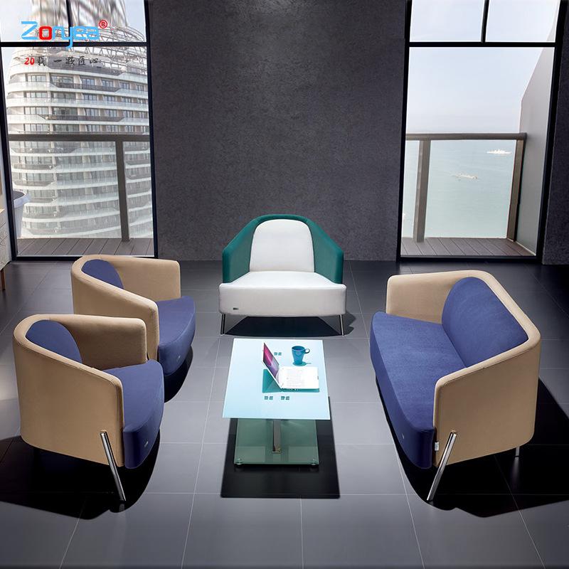 现代创意布艺沙发 4S店会客区接待单人位沙发 商务组合办公沙发