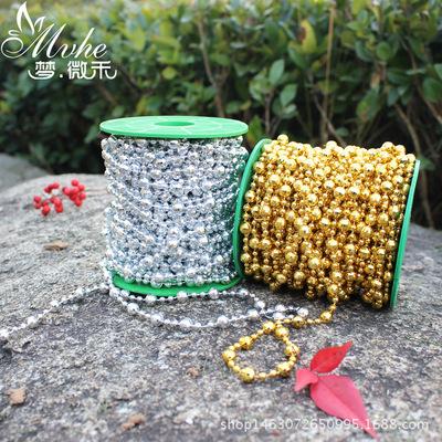 现货供应圣诞节庆派对装饰品DIY饰品配件8mm电镀金银地球珠塑料珠