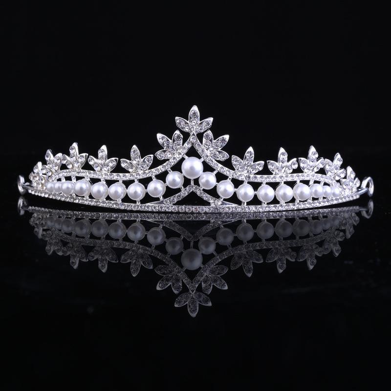 新娘头饰满钻镶珍珠结婚饰品 百搭星梦皇冠婚庆额饰婚纱配件发饰