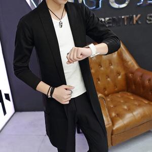 2021春季新品中长款针织衫开衫男韩版修身学生毛衣外套青年开衫潮