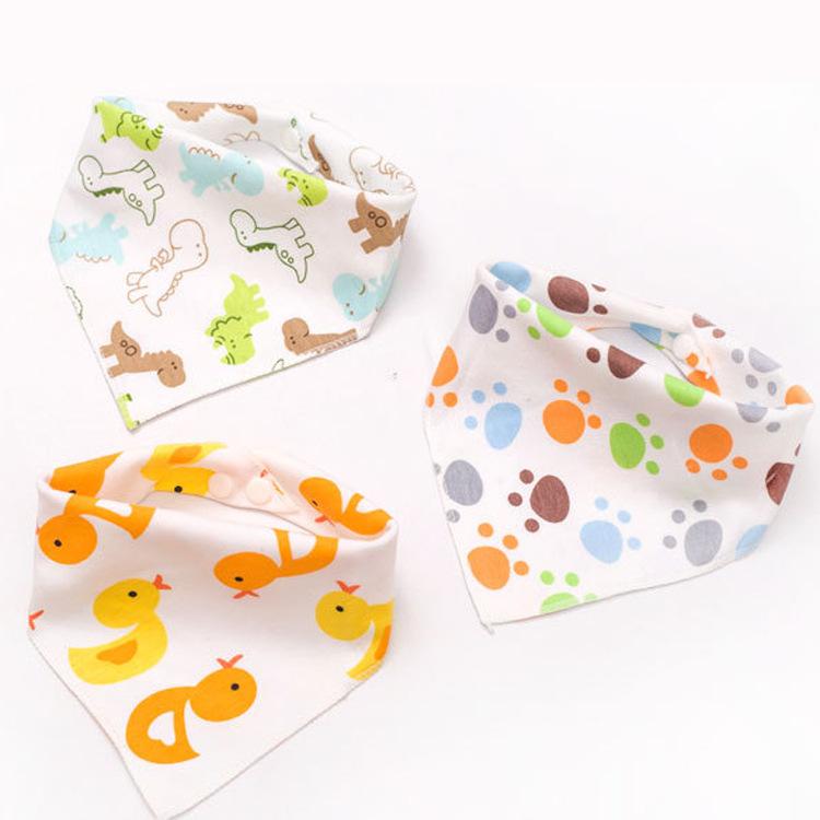 棉双面三角巾批发  双层双按扣 婴儿口水巾宝宝 围嘴 头巾DB001