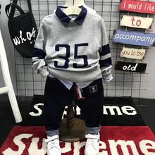 温州童装韩版潮品休闲精品安安宝贝秋季新款男童韩版针织毛衣