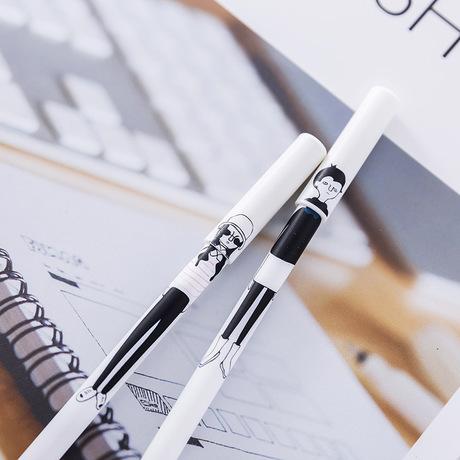 Hàn Quốc sáng tạo văn phòng sinh viên dễ thương tối giản vẽ tay cô gái cá tính gel bút đen kim bút nước
